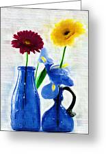 Cobalt Blue Glass Bottles And Gerbera Daisies Greeting Card