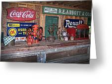 Coca Cola - Rexall - Ok Used Tires Signs And Other Antiques Greeting Card
