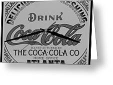 Coca Cola Clock In Black And White Greeting Card