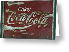 Coca Cola Green Red Grunge Sign Greeting Card