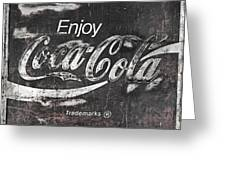 Coca Cola Pink Grunge Sign Greeting Card