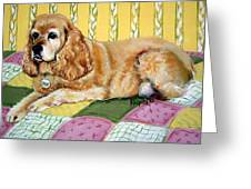 Cocker Spaniel On Quilt Greeting Card
