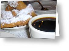 Coffee And Beignets French Quarter New Orleans Greeting Card