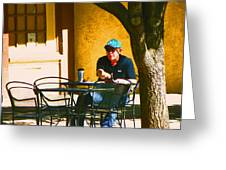 Coffee At The Outdoor Cafe Greeting Card