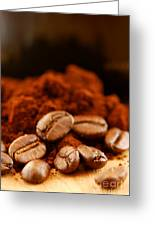 Coffee Beans And Ground Coffee Greeting Card by Elena Elisseeva