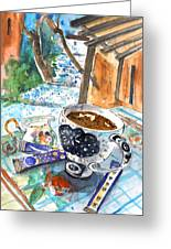 Coffee Break In Elos In Crete Greeting Card