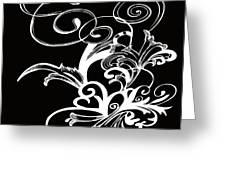 Coffee Flowers 1 Bw Greeting Card