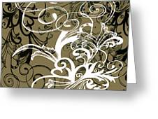 Coffee Flowers 1 Olive Greeting Card