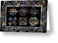 Coffee Flowers Ornate Medallions 6 Piece Collage Aurora Borealis Greeting Card