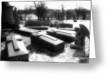 Coffins And Angel Greeting Card