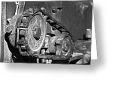 Cog And Chain In Rust Black And White Greeting Card