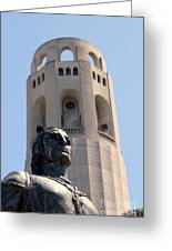 Coit Tower Statue Columbus Greeting Card