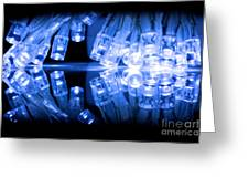 Cold Blue Led Lights Closeup Greeting Card