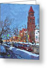 Cold Morning In Elmwood Ave  Greeting Card