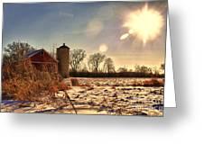 Cold Winter Barn Greeting Card