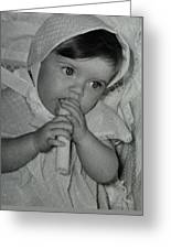 Colette 1 Year Old With 3 Eye Opend Greeting Card