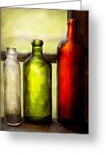 Collector - Bottles - Still Life Of Three Bottles  Greeting Card