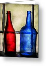 Collector - Bottles - Two Empty Wine Bottles  Greeting Card
