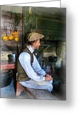 Colonial Man In Kitchen Greeting Card