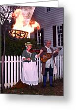 Colonial Musicians By Firelight Greeting Card
