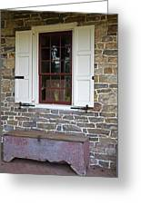 Colonial Shutters Window Frame Stone Wall Wood Box Greeting Card