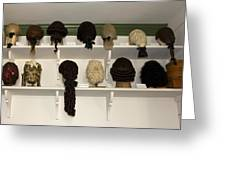 Colonial Wigs Display Greeting Card