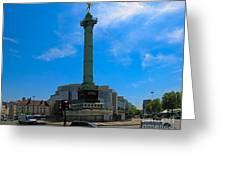 Colonne De Juillet And Opera De Paris Bastille Greeting Card