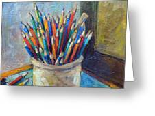 Colored Pencils In Butter Crock Greeting Card by Jean Groberg