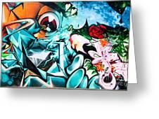 Colorful Abstract Graffiti Wall Greeting Card