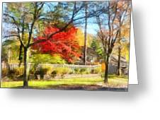 Colorful Autumn Street Greeting Card