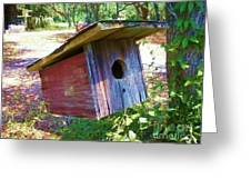 Colorful Birdie House Greeting Card