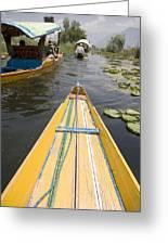 Colorful Boats On Dal Lake Dal Lake Greeting Card