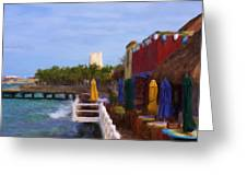 Colorful Cozumel Cafe Greeting Card