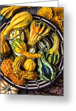 Colorful Gourds In Basket Greeting Card