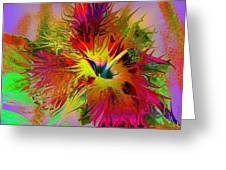 Colorful Hibiscus Greeting Card by Doris Wood