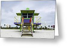 Colorful Lifeguard Station Greeting Card