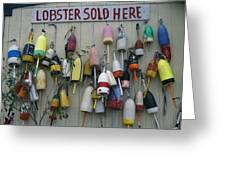 Colorful Lobster Buoys Hang On A New Greeting Card by Stephen St. John