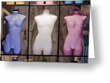 Colorful Mannequins In Store Window Greeting Card