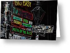 Colorful Neon Sign On Bourbon Street Corner French Quarter New Orleans Glowing Edges Digital Art Greeting Card