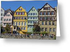 Colorful Old Houses In Tuebingen Germany Greeting Card