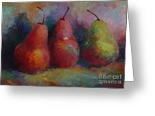 Colorful Pears Greeting Card
