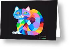 Colorful Rainbow Cat Greeting Card