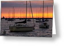 Colorful Skies At This Harbor Greeting Card