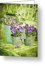 Colorful Spring Flowers On Garden Chair Greeting Card