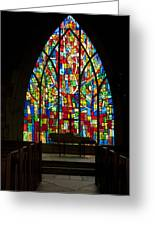 Colorful Stained Glass Chapel Window Greeting Card