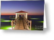Colorful Sunrise With Fishing Pier At The Texas Gulf Coast Greeting Card
