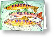 Colorful Trout Greeting Card by Janna Columbus