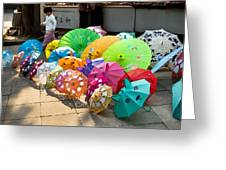 Colorful Umbrellas Greeting Card by John Wong