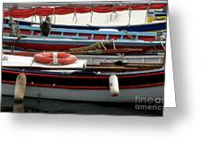 Colorful Wooden Boats Greeting Card