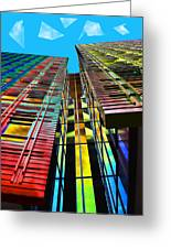 Colors In The City With Clouds Greeting Card